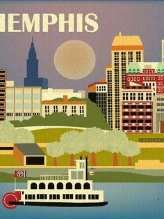 Retro Southern Skyline Prints | Loose Petals | Bourbon & Boots