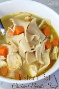 Instant Pot Pressure Cooker Chicken Noodle Soup  2 Tbsp Butter 1 small Onion, diced 2-3 clove Garlic, minced 3-4 Carrots, diced 2 C. cooked Chicken leftovers 7 C. Organic Chicken Broth 6 oz Noodles of your choice 1 tsp Basil Salt & Pepper to taste Optional: 2 stalks Celery, chopped