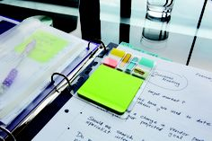 Organize while on the go. Have a Post-it Note and a flag, in 3-ring binder. New Post-it Mobile.