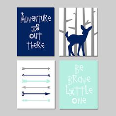 Adventure Nursery Art Deer Nursery Art Woodland Nursery Art