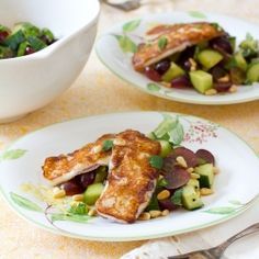 Grilled Yanni Cheese with a Chop Salad of Cucumber, Mint and Grapes!