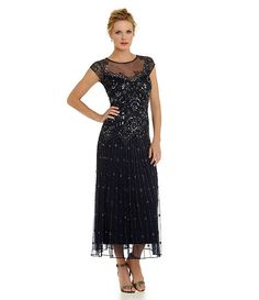 f770a7e843 Pisarro Nights Petite Illusion Beaded Gown Mother Of Groom Dresses