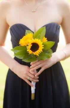 Black dress + sunflower bouquet = such a lovely contrast #blacktie #wedding #dress #gold #bridesmaids