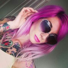 Magenta Hair and Heart Shaped Glasses