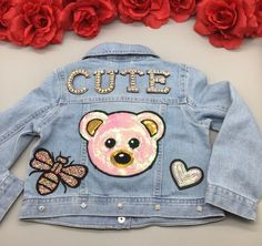 Custom Denim Jacket for Girls Reworked Sequin Bear Patched Toddler Jean Jacket Rhinestones Bee Patch Kids Denim Jacket, Denim Jacket Patches, Jean Jacket For Girls, Swag Outfits For Girls, Kids Outfits, Sequin Jeans, Little Girl Shoes, Toddler Jeans, Painted Clothes