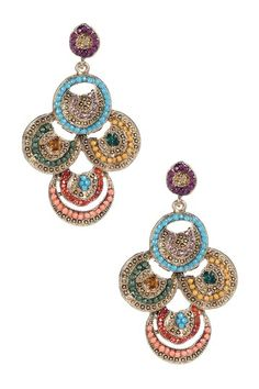 """$16 sale * Contempo: Acrylic Beaded Multi-Disc Drop Earrings, from HauteLook.com. Gold plated zinc alloy multicolor acrylic beaded multi-disc drop earrings, post back, 2.75""""L. Imported."""