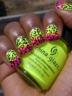 Neon Gradient Leopard Nails