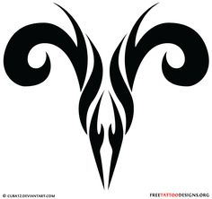 Tribal aries sign tattoo