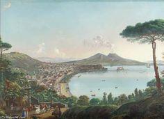 La Baie de Naples avec une frégate américaine de Nicolino Calyo (1799-1884, Italy)