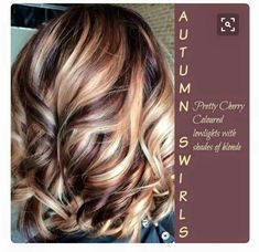 Autumn Swirl - Cherry lowlights with shades of blonde
