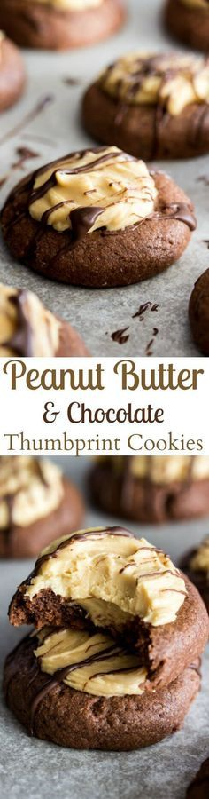 Chocolate Peanut Butter Thumbprints || Sugar Spun Run via @sugarsunrun