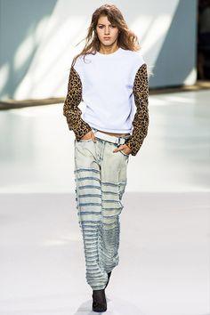 Leopard Sleeves & Denim Mix.  Leopard Print Fashion Trend for Spring Summer 2013.  Phillip Lim Spring Summer 2013 #Fashion #Trend #Trends