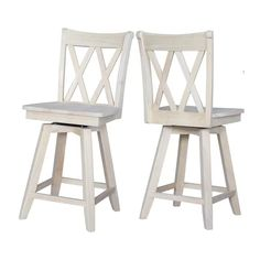 International Concepts Double X Back 24 in. Unfinished Wood Swivel Bar Stool - The Home Depot Counter Stools With Backs, Diy Bar Stools, Swivel Counter Stools, Counter Height Bar Stools, Kitchen Stools, Bar Chairs, Room Chairs, Kitchen Dining, Kitchen Decor