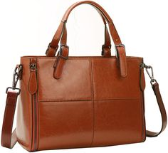 Kenoor Leather Tote Shoulder Messenger Bags Purse Handbags for Women (Brown). Tapestry satin durable lining. Tarnish hardware, made the purse unique and noble. The lining is in bright coffee, easy to find things inside the purse. The zipper is smooth, easy to open or close the purse. 2 Main compartment pockets, perfect for your IPAD, sunglasses and makeups. 1 Inner zipper pocket. 1 Iphone6s pocket and ID card slots. 1 Rear zipper pocket for your phones or other daily things. Come with a...