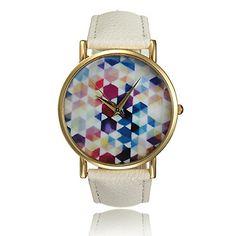 Weiss Damen Hexagon Armbanduhr Elegante Bunte Lederarmband Uhr Gold Quarz Uhren