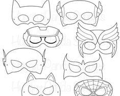 Superhero Mask Template Printable superhero printable coloring masks by happilyafterdesigns on etsy Printable Masks, Printables, Superhero Mask Template, Comic Book Heroes, Comic Books, Villain Mask, Black And White Comics, Hero Costumes, Superhero Birthday Party