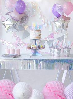 Magical Unicorn Party with Martha Stewart for Michaels : Magical Unicorn Party Ideas! Girl Birthday Themes, Girl First Birthday, Unicorn Birthday Parties, Unicorn Party, Birthday Party Decorations, Party Themes, Party Ideas, Bubble Birthday, Baby Shower