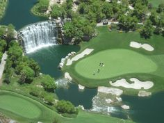 Golf course at the Wynn in Las Vegas. 18th hole at the water fall.
