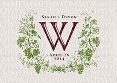 Vineyard Grapevine Wreath Custom Wedding Monogram - Wedding Logo - Wedding Crest