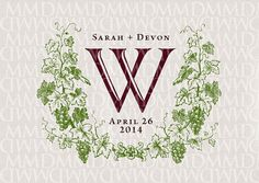 Vineyard Grapevine Wreath Custom Wedding Monogram - Wedding Logo - Wedding Crest