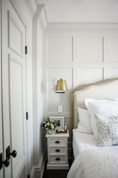 Our Bedroom Reveal Master bedroom redesign by Jacquelyn Clark. Tour the room, get all the design details, and shop the look on lark & linen! Home Decor Bedroom, Linen Bedroom, Bedroom Ideas, Bedroom Bed, Bedroom Inspiration, Bed Linen, Bedroom Furniture, Farmhouse Style Bedrooms, Accent Wall Bedroom