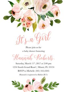 It's a Girl Baby Shower Invitation Pink Floral by CasaConfetti