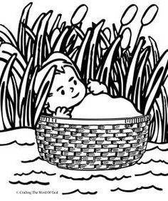 Moses In The Basket Coloring Page - maybe do some type of lacing/weaving on the basket part