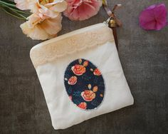 Cute coin purse Zipper pouch lace and cotton by ruedesouvenirs