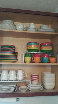 Beautifully organized dishes cabinet