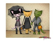 Private commission: Abigail, Wednesday and Frankenstein kitties!