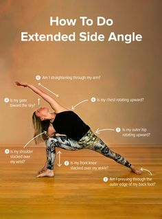 7 Tips To Practice Extended Side Angle Pose (Infographic). Proper technique during yoga is important to ensure that you are getting the most out of your practice and to prevent injuries. Yin Yoga, Yoga Bewegungen, Yoga Moves, Yoga Exercises, Ashtanga Yoga, Vinyasa Yoga, Yoga Routine, Yoga Inspiration, Side Angle Pose