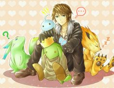 Squall with carbuncle, tonberry, pupu, and a moomba! Cute!