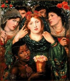A young woman dominates the centre of this group scene