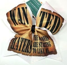 Bows by April - WANTED HATERS The Old Ones Are Starting to Like Me Glitter Cheer Bow, $20.00 (http://www.bowsbyapril.com/wanted-haters-the-old-ones-are-starting-to-like-me-glitter-cheer-bow/)