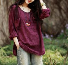 Women Blouses Plus Size O Neck Solid Color Shirts Full Sleeve Cotton Linen Women Tops Vintage Casual Women Shirts