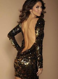 Black Sexy Dress - Black and Gold flip sequin | UsTrendy New Year's Eve Party Dress!