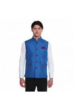 Look your best at next occassion wearing this blue coloured jute sleeveless Nehru jacket for men #nehrujacketformen #nehrujacketonline #onlinemensjacket #partywearjacket #nehrujacketformen #mensfashion #ethnicwearformen #bluenehrujacket Shop here-  https://trendybharat.com/men-fashions/ethnic-wear/indo-western/blue-jute-sleeveless-waistcoat-favjc161102
