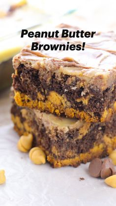 Sweet Desserts, Easy Desserts, Dessert Recipes, Peanut Butter Desserts, Peanut Butter Brownies, Delicious Deserts, Delicious Cookies, Brownie Recipes, Cheesecake Recipes
