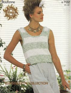 Vintage Knitting Pattern Instructions for Ladies Womens Jumper Top Sleeveless