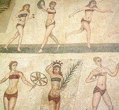 "The ""Bikini Girls"" - a Roman mosaic at the century Villa Romana in Armerina, Sicily depicting women playing a variety of sports Ancient Rome, Ancient Greece, Ancient Art, Ancient History, Fresco, Villa Romaine, Rome Antique, Ursula Andress, Landsknecht"