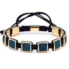 Men/'s Cubic Zircon 24kt Plaqué or Couronne Bracelet Perles MACRAME Fashion Bracelet