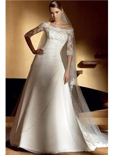 Fashion Chiffon A-Line/Princess Off the Shoulder Chapel Bridal Wedding Dresses (3AA0404)