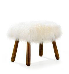 """PHILIP ARCTANDER, attributed, """"Clam"""" stool, 1940's, birch and sheepskin, height 38 cm"""