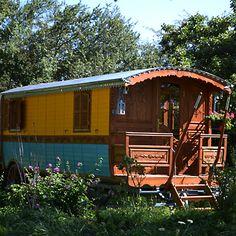 Une magnifique roulotte en bois jaune et bleue Gypsy Caravan, Gypsy Wagon, Jacuzzi, Tree Hut, She Sheds, Wooden House, Tiny House On Wheels, Mobile Home, Caravans