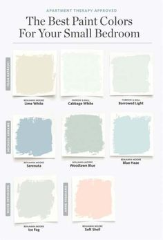 Schlafzimmer Deko - 8 Paint Colors That Always Work for a Small Bedroom - Schlafzimmer Ideen Small Bedroom Colours, Benjamin Moore Blue, Borrowed Light, Best Paint Colors, Paint Colours, Wall Colors, Neutral Colors, French Country Bedrooms, Room Color Schemes