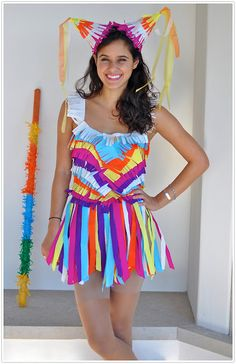 Want to get hit on this Halloween? Then the piñata costume may be what you're looking for! What you need to do: Have a lot of crepe paper and a whole lotta patience.  Source: Camille Styles