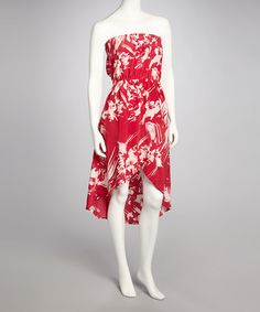 Take a look at this Raspberry Floral Hi-Low Strapless Dress by Angie Apparel on #zulily today!