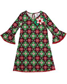 10bbe135fc46 Counting Daisies Little Girls Printed Knit Dress RedGreenBlack 4     Visit  the image link