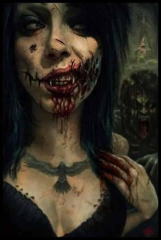 Even though this image is a drawing/ painting I believe inspiration could be taken form it for SFX make up. I like the simple wound around the characters face.