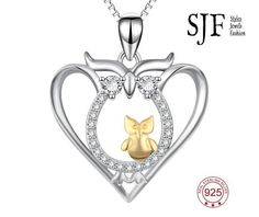 Genuine 925 Sterling Silver Mother Child Pendants Necklaces